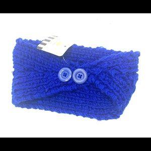 Royal Blue Winter Knit Stud Headwrap